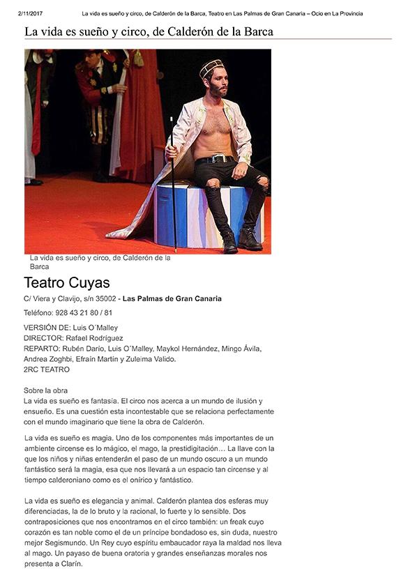 La vida es sueño y circo, de Calderón d...de Gran Canaria