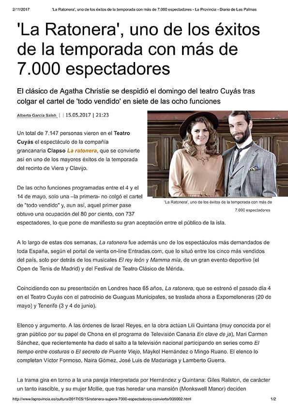 'La Ratonera', uno de los éxitos de la ... - La Provincia - D